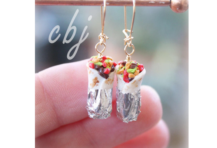 Burrito Earrings, Polymer Clay Burrito Earrings, Gold Filled Burrito Earrings, Dangle Burrito Earrings, Polymer Clay Burrito Jewelry via CBJbyLorena/Etsy